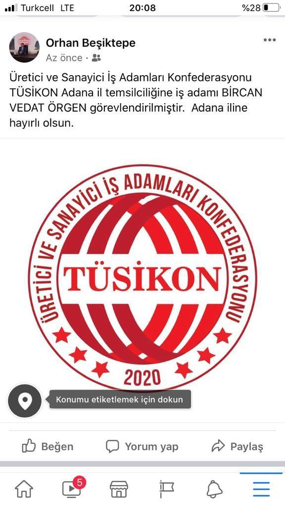 Uluslararası ekonomik sivil toplum kuruluşu olarak faaliyet gösterecek olan Üretici ve Sanayici İşadamları Konfederasyonu'nun (TÜSİKON) Adana İl Başkanlığına Vedat Örgen getirildi.
