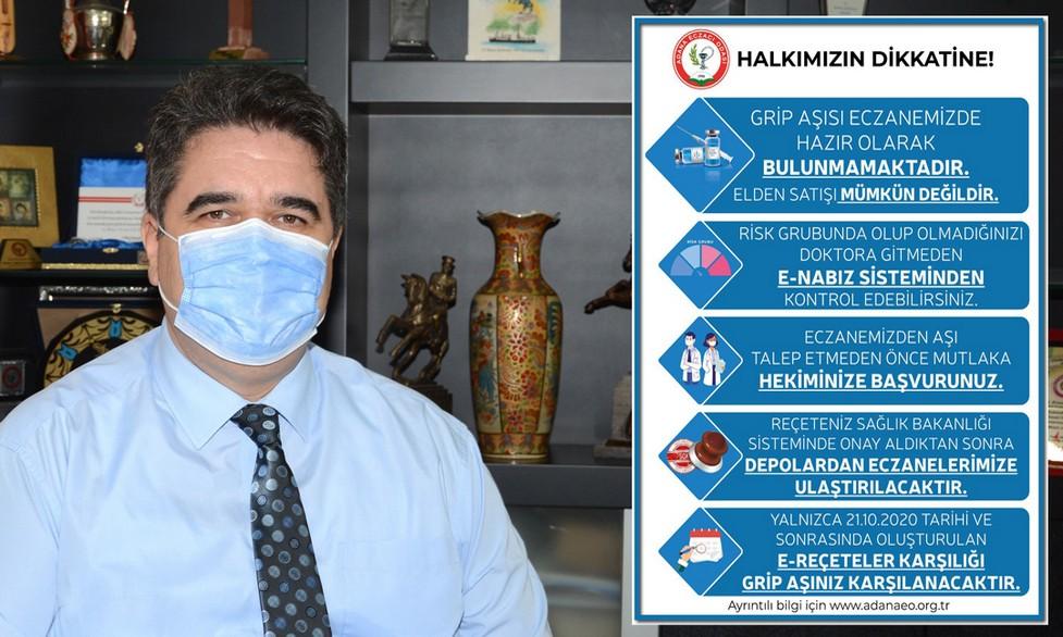 """Grip aşısında kaos yaşanmaması için açıklama yapan Adana Eczacı Odası Başkanı Ecz. Ö. Mürsel Yalbuzdağ, """"Geçtiğimiz yıl grip aşıları Aralık ayında gelmiş, ihtiyacı karşılamada yetersiz kalmıştı."""